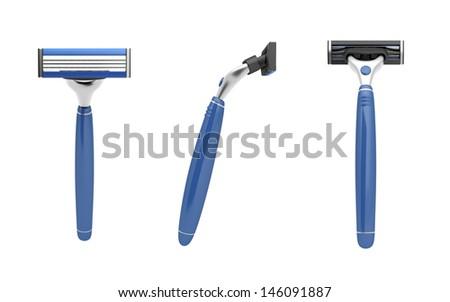 Safety razor isolated on white - stock photo