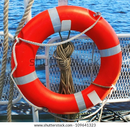 Safety ring on the ship - stock photo