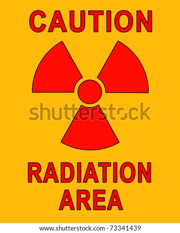 Safety sign for radiation area - stock photo