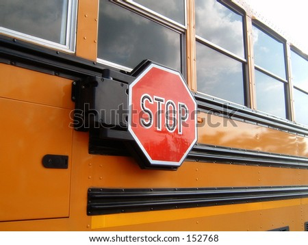 Safety Sign on School Bus - stock photo