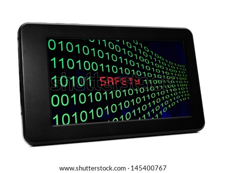 Safety text on pc tablet - stock photo