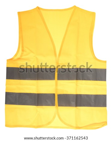 Safety vest in yellow with reflective stripes isolated over a white background / Safety vest - stock photo