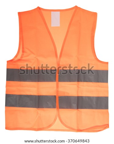 Safety vest with reflective stripes isolated over a white background / Safety vest - stock photo