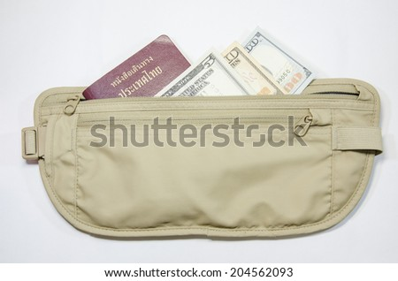 safety waist pouch for traveler and money and passport - stock photo