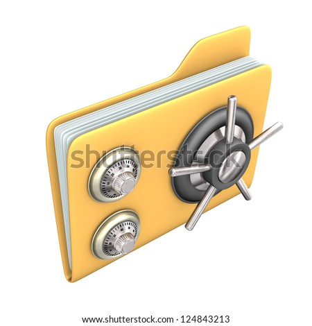 Safety yellow file on the white background. - stock photo