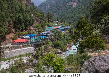 SAGARMATHA, NEPAL-MAY 6: Himalayan village 6, 2016 in Sagarmatha, Nepal. Himalayan village on the track to the Everest base camp. - stock photo