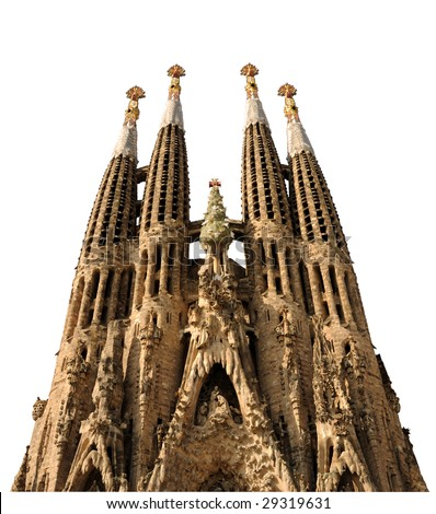 Sagrada Familia isolated on white background with clipping path. Barcelona Spain - stock photo