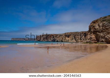 SAGRES,PORTUGAL-JULY 5,2014: Famous surf beach near the Cape St.Vincente - stock photo