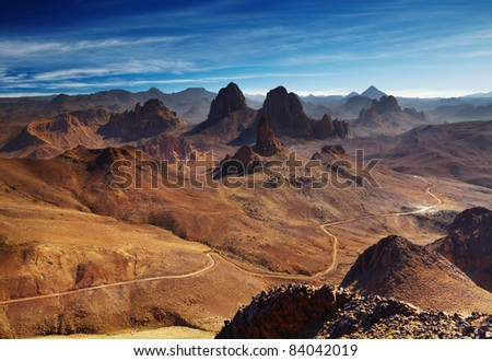 Sahara Desert, Hoggar mountains, Algeria, view from Assekrem pass - stock photo