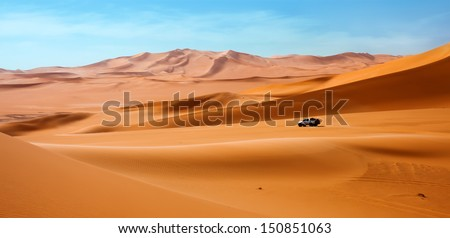 Sahara Desert in Libya. Adventure on car. - stock photo