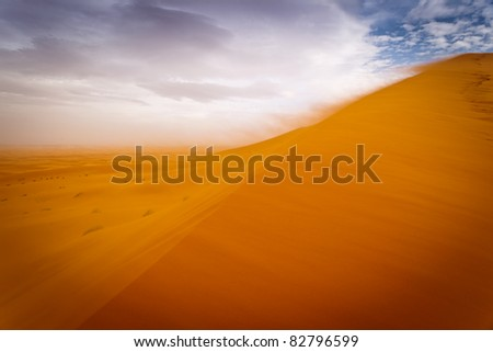 Sahara, Morocco: Wind storm on sand dunes of the Sahara Desert, Morocco - stock photo