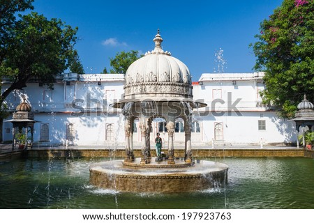 Saheliyon-ki-Bari (Courtyard of the Maidens) is a major garden in Udaipur, India - stock photo