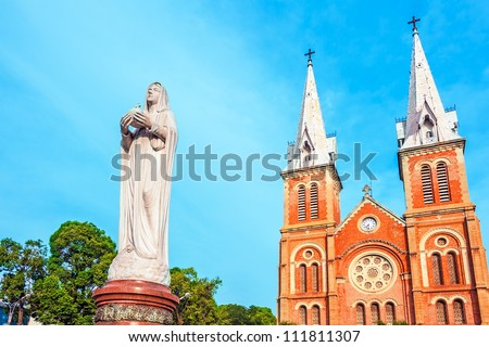 Saigon Notre-Dame Basilica in Ho Chi Minh City, Vietnam. It was constructed between 1863 and 1880. - stock photo