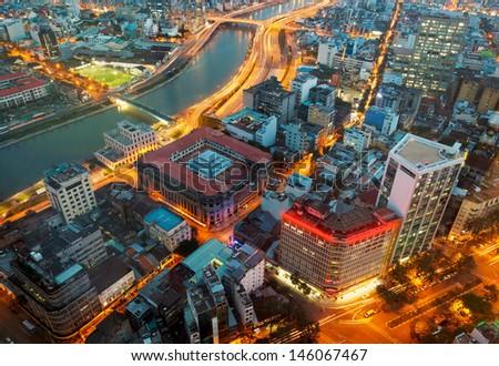 Saigon panorama of the city at night - stock photo