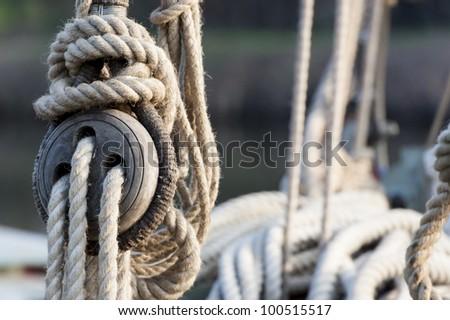 Sail boat block and rope - stock photo