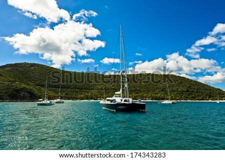 Sail boats on the bay - stock photo
