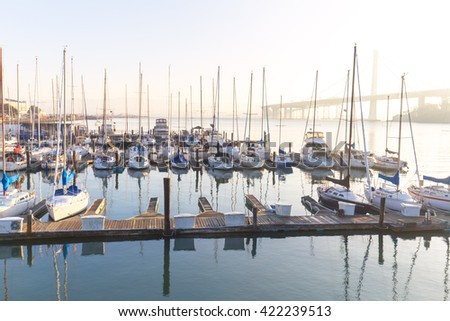 sail boats on tranquil water in the bay of san francisco - stock photo