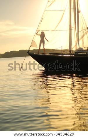 sail on the sunset - stock photo