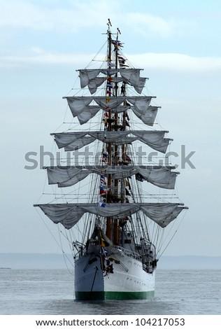 Sail Ship in New York Harbor during NYC Fleet Week - stock photo