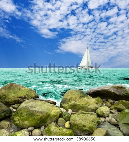 sail yacht in the sea - stock photo