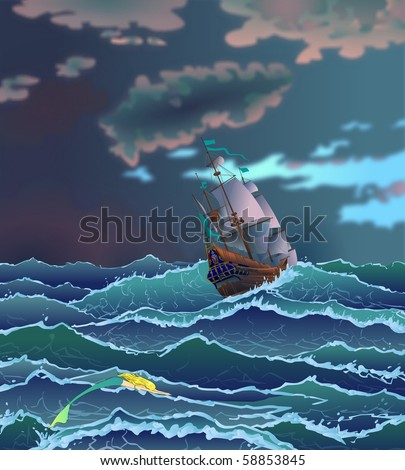 Sailboat during storm in ocean. Fairy tale. - stock photo