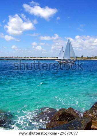 Sailboat in Florida - stock photo