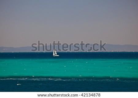 Sailboat in Moreton Bay in Brisbane Australia - stock photo