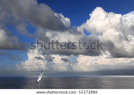 Sailboat in the Cayman Islands - stock photo