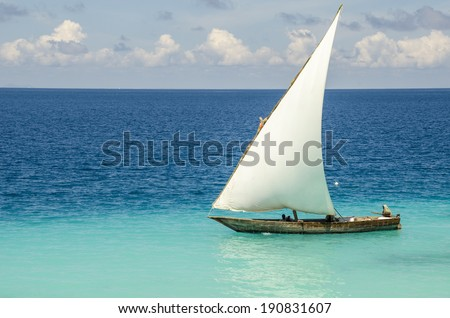 Sailboat in the Indian ocean near Zanzibar, Tanzania - stock photo