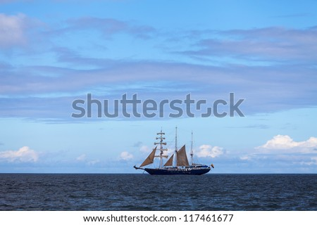 Sailboat in the Pacific Ocean - stock photo