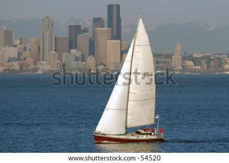 Sailboat off seattle - stock photo