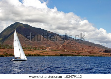 Sailboat on Beautiful Maui Hawaiian Island Ocean - stock photo