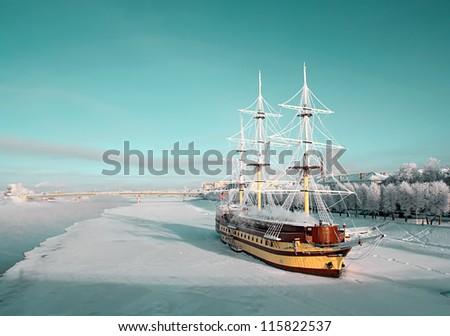 sailboat on pier - stock photo