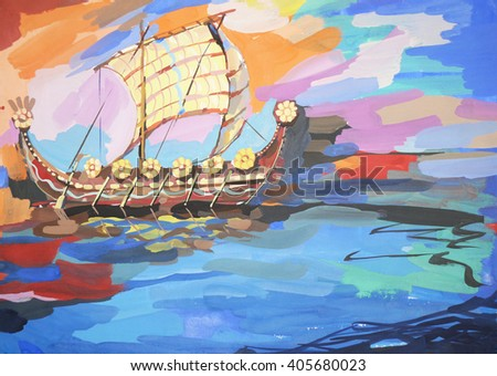 Sailboat painting with gouache. Medieval ship picture. Ship. Background with the sea and the frigate - stock photo