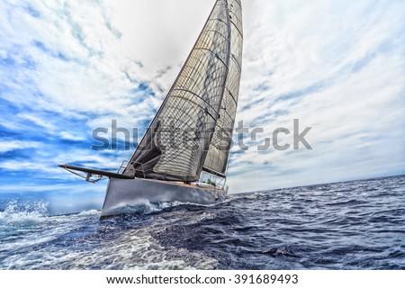 sailboat, sailing - stock photo