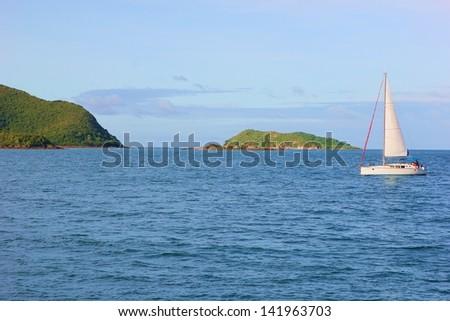 Sailboat sailing through the Koh samae san islands ,Sattahip,Thailand - stock photo