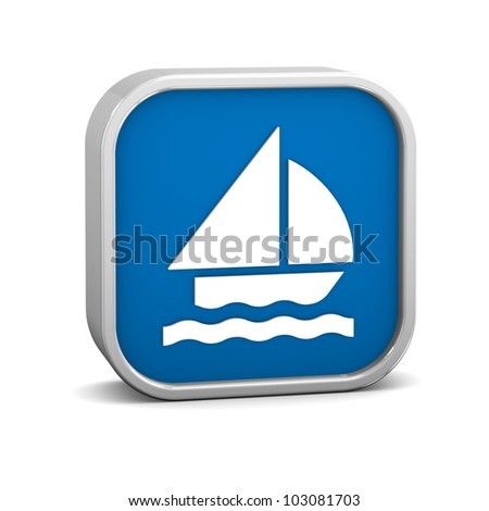 Sailboat sign on a white background. Part of a series. - stock photo