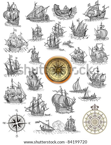 Sailboats illustration - stock photo