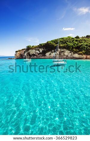 Sailboats in a beautiful bay, Greece - stock photo