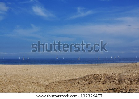 Sailboats in the sea - stock photo