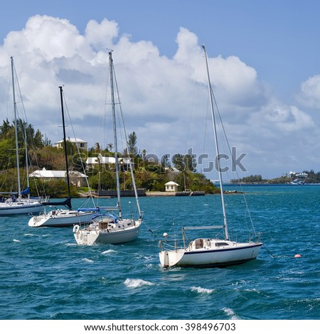 Sailboats moored in Hamilton Harbour, Bermuda. - stock photo