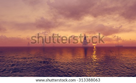 Sailboats silhouettes against the rising sun background. Realistic 3D illustration was done from my own 3D rendering file. - stock photo