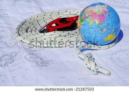 Sailing around the world - stock photo