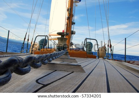 sailing boat detail - stock photo