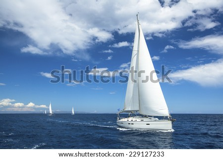 Sailing. Boat in sailing regatta. Luxury yachts. - stock photo