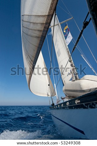 Sailing boat in the sea - stock photo