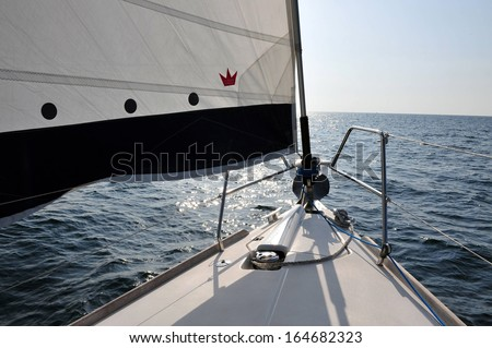 Sailing boat travel on the sea. - stock photo
