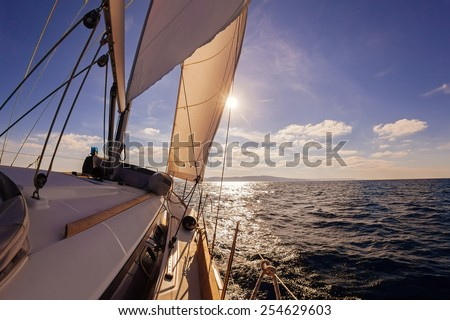 Sailing boat wide angle view in the sea, instagram toning  - stock photo