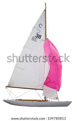 Sailing boat with red sail - stock photo