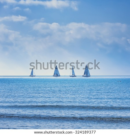 Sailing boat yacht or sailboat group regatta race on sea or ocean water. Panoramic view. - stock photo